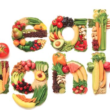 Eat Right written in vegetables