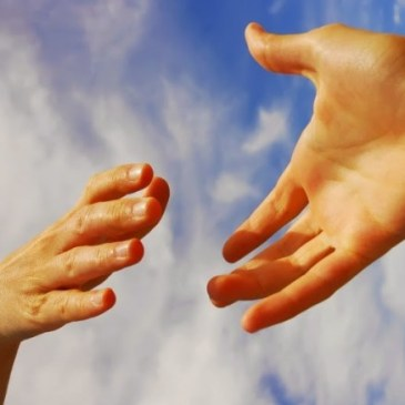 two hands reaching out to each other in kindness