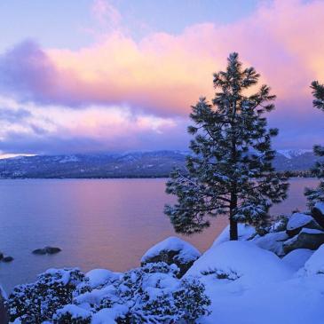 Crisp lake on a wintery morning.