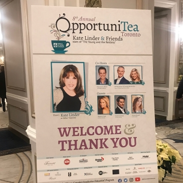 Sign for Opportunitea event at the Royal York