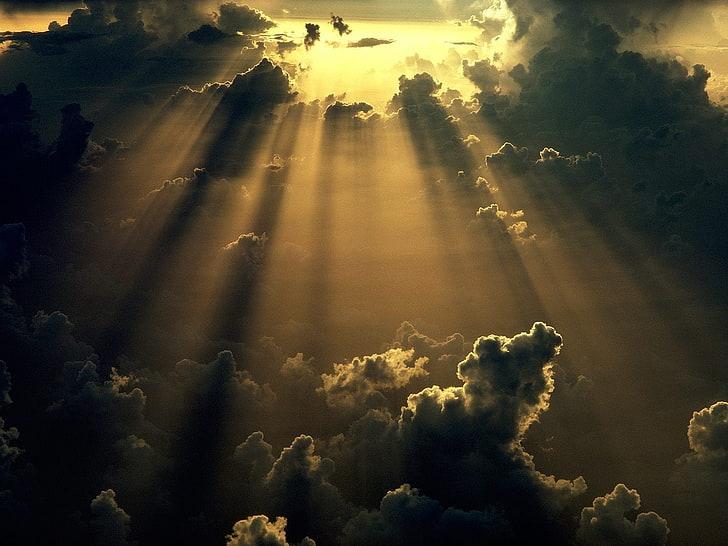 Sun peaking through clouds, peace