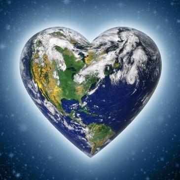 Heart-shaped earth, love, peace